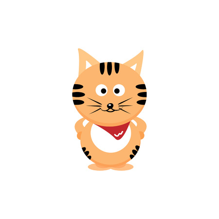 Cat, tiger with red scarves cartoon cute character flat design isolated on white abstract background vector illustration Illustration