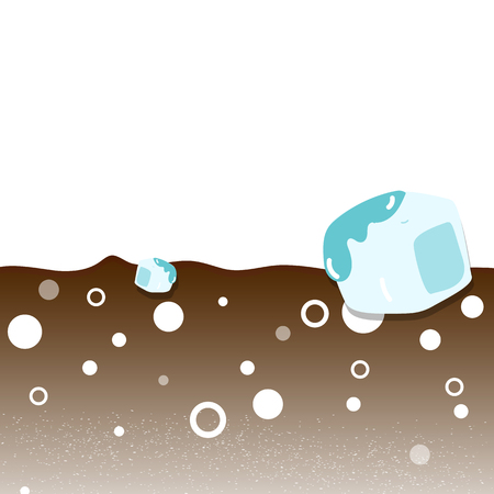 Drinking water with ice melting, chocolate, soda and concept abstract vector illustration