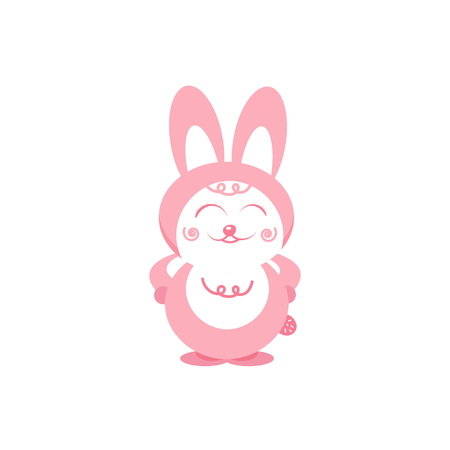 Rabbit smiles cartoon cute character pink pastels flat design isolated on white abstract background vector illustration Illustration