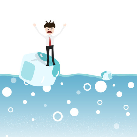 Businessman with problems, ice melting in ocean concept abstract background vector illustration