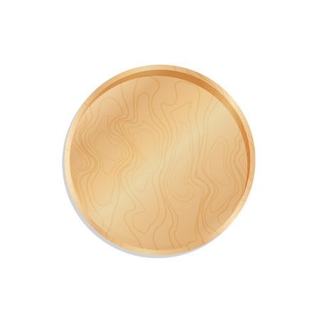Wooden trencher, tray and salver isolated on white background vector illustration flat design