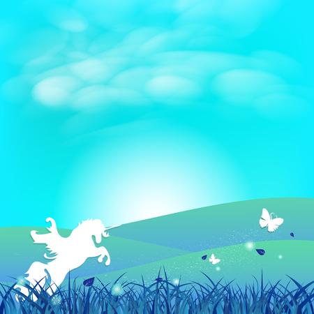 Las estrellas del concepto del arte del papel de la fantasía del unicornio y de la mariposa se esparcen en el campo de hierba con las nubes en la ilustración del vector del fondo abstracto del paisaje soleado