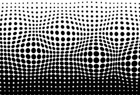Halftone, convex moving pattern texture pointillism abstract background vector illustration