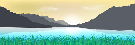 Landscape, natural grass field and mountain sunset poster abstract background vector illustration in long horizontal Ilustrace