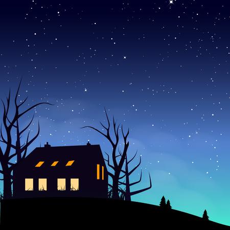 Escena nocturna del cartel de la silueta de la casa con la ilustración del vector del fondo abstracto del concepto de la galaxia y del espacio de la dispersión de las estrellas