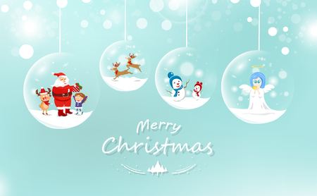 Merry Christmas, Santa Claus and kid with gift, reindeer and snowman, cute angel in glossy ball, decoration celebration greeting card, winter holiday season background vector
