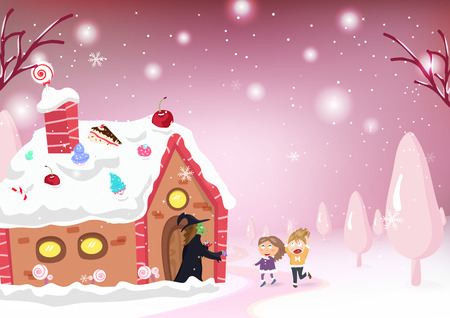 Kids Cartoon and fantasy story, Candy house, witch, Hansel and gretel, kids postcard, snow falling, pastel poster in winter background vector illustration