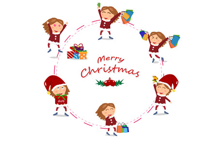 Girl characters vector, Sale, circle ring design, Christmas and happy new year shopping, end of winter season, gift and celebration holiday with woman, cute cartoon
