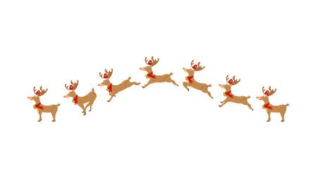 Renne, courir, sauter, animation, personnage de dessin animé en mouvement, mignon, vecteur de Noël isolé sur fond blanc