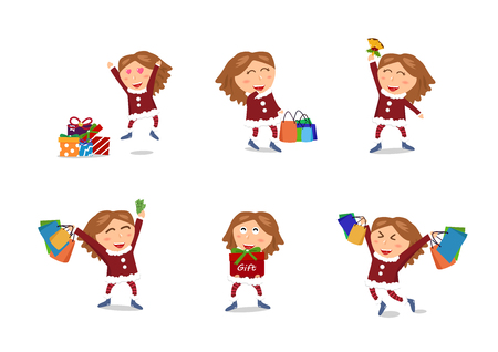 Girl characters vector, Sale, Christmas and happy new year shopping, end of winter season, gift and celebration holiday with woman, cute cartoon