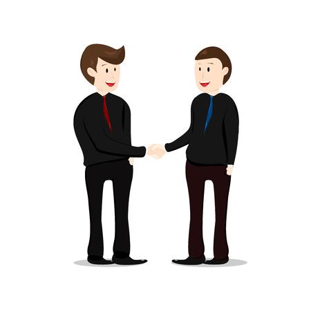 Travail d'équipe, serrer la main, partenaire d'homme d'affaires travaillant ensemble, vecteur de conception plate de collection de dessins animés de caractère isolé sur fond blanc Vecteurs