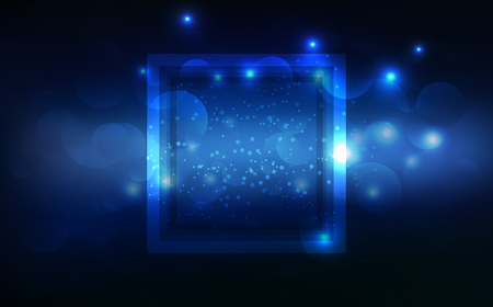 Blue light, glowing effect neon frame tag, banner decoration, technology abstract background vector illustration