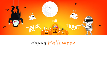 Halloween, mummy, vampire and spooky cartoon character with cute pumpkin lantern, celebration festival poster, invitation card holiday background vector illustration