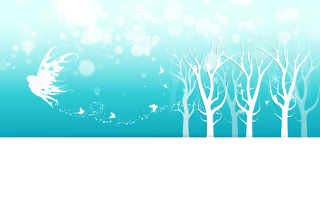 Winter, fairy fantasy with butterfly poster invitation, mist, snowflakes and stars scatter sparkle holiday season card banner, celebration Christmas abstract background vector illustration