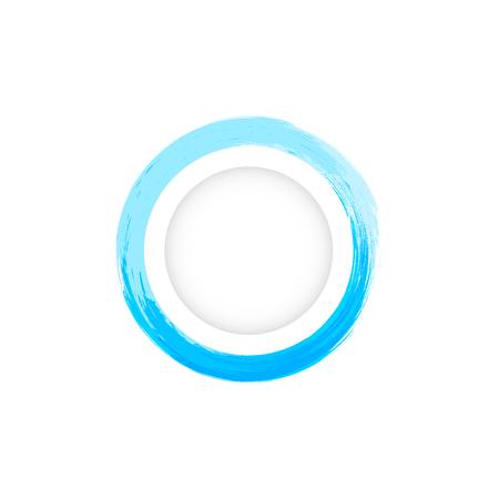 Water splash banner logo, watercolor ink circle ring frame vector illustration