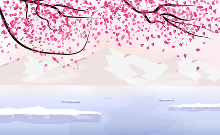 Sakura falling scatter, landscape with ice mountain, season change holiday japanese background traveling poster concept, vector illustration Illustration