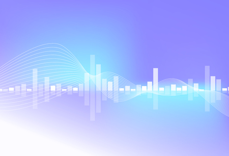 Music equalizer, bright ultraviolet trend, bar and blend curve lines, digital sound technology abstract background vector illustration