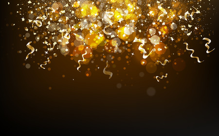 Magical gold blurry Bokeh and stars falling with ribbons confetti, dust, glowing particles scatter glitter blinking shine sparkle celebration award abstract background vector illustration 일러스트