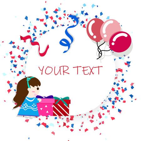 Kerstkaart, feestviering plat ontwerp, ballonnen, jongen meisje stripfiguur en linten confetti poster concept abstracte achtergrond vectorillustratie Vector Illustratie