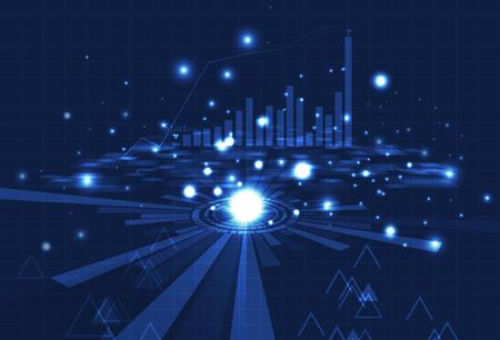 Technologia biznesowa, analiza cyfrowego wykresu słupkowego, siatki i danych na niebieskiej koncepcji z cząsteczkami świecącymi streszczenie ilustracji wektorowych tła