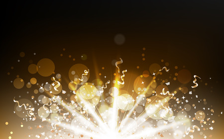 Explosion confetti scatter with light beam, gold particles, ribbons, dust, glowing dust blurred, Bokeh glitter blinking celebration festival abstract background vector illustration 일러스트