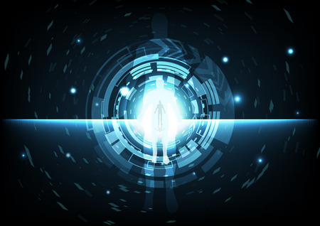 Digital technology gate circular ring with man in cyberspace abstract background vector illustration