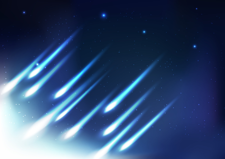 Meteors fireball, light rays bright abstract background, night astronomy galaxy space concept vector illustration