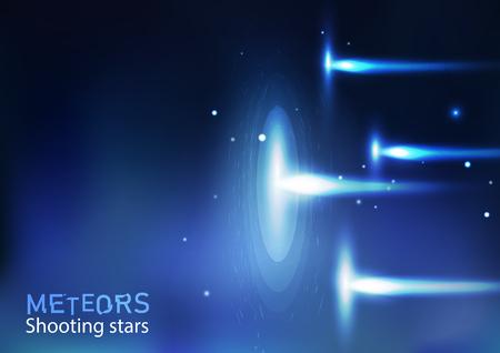 Météores étoiles filantes astronomie galaxie et espace, lumière lumineuse effet néon concept vecteur abstrait illustration en horizontal Vecteurs