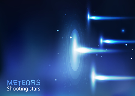 Meteoros estrellas fugaces astronomía galaxia y espacio, luz neón brillante efecto concepto vector ilustración de fondo abstracto en horizontal Ilustración de vector