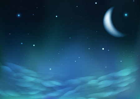 Starry scatter on night cloudy sky with moon, fantasy astronomy constellation concept abstract background vector illustration 矢量图像