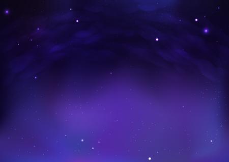 Spazio esterno della galassia con la notte stellata nuvolosa sull'illustrazione di vettore del fondo dell'estratto della bella atmosfera Vettoriali