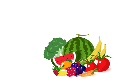 Vegetables and fruits pile, healthy food collection balance diet menu, food product, isolated on white space background vector illustration Banque d'images - 114542291