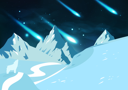 Ice mountains landscape, meteors fall shooting stars astronomy with fox, poster fantasy night sky concept vector abstract background illustration 向量圖像