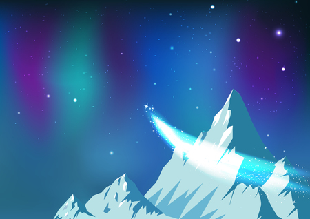 Stars scatter, comet traveling on night sky with aurora, fantasy astronomy constellation ice mountains landscape arctic concept abstract background vector illustration Illustration