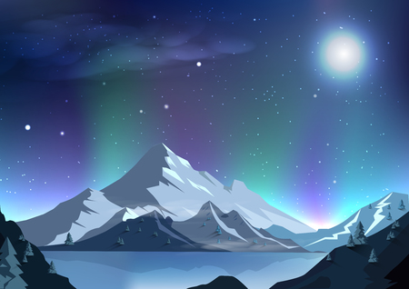 Fantasy full moon abstract background aurora night scene magic, stars scatter winter season, outside planet, galaxy space concept, milky way, mountains landscape vector illustration