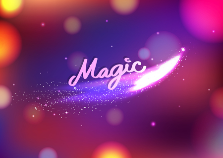 Magic stars fantasy blurry Bokeh abstract background, greeting card festival celebration party event concept vector illustration