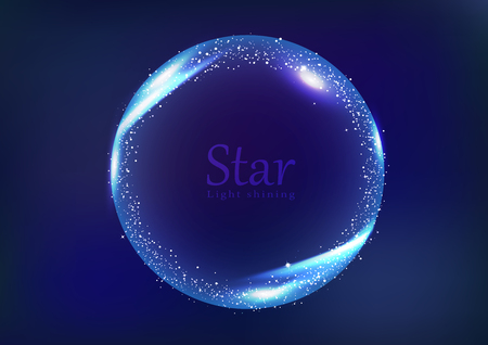 Star frame galaxy and space banner concept, circular ring light shining glowing scatter bright neon celebration banner abstract background vector illustration