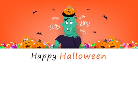 Tarjeta de feliz Halloween, frankestein comiendo dulces con calabaza linda, temporada de vacaciones de celebración, fiesta festival concepto de dibujos animados resumen antecedentes banner cartel ilustración vectorial