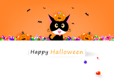 Happy Halloween card, cat and sweet candy with cute pumpkin, celebration holiday season, party festival cartoon invitation poster abstract background banner vector illustration