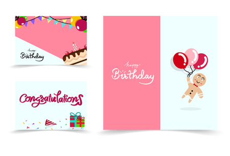 Happy birthday card banners set cartoon collection, confetti celebration party abstract background vector illustration