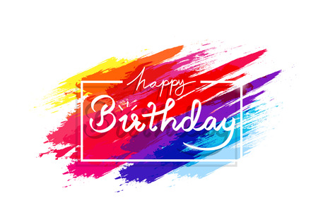 Happy birthday, watercolor colorful grunge brush rainbow ink splashing concept, celebration party abstract background decoration greeting poster festival frame vector illustration