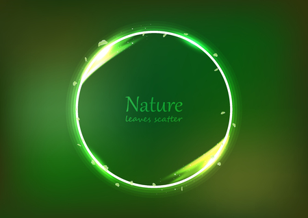 Leaves scatter banner nature concept, circular ring light shining glowing effect dust explosion bright neon, celebration event with blurry abstract background vector illustration