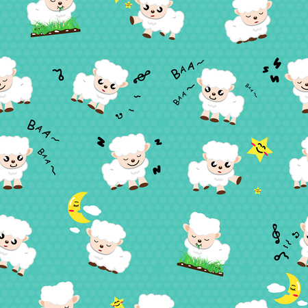 Sheep cute cartoon, animals collection seamless pattern concept using for kids wallpaper texture abstract background vector illustration