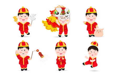 Chinese boy, people cute characters cartoon mascot, Chinese New Year, lion dance, firecracker, kung fu, pig and aerialist festive holiday vector illustration