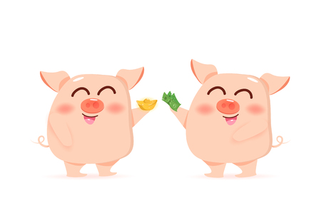 Pig, lucky, richness and investment, giving gold and money, cute cartoon characters vector illustration