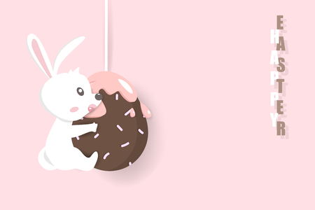 Happy Easter, rabbit hanging with chocolate egg, holiday greeting card, decoration poster invitation background vector illustration  イラスト・ベクター素材