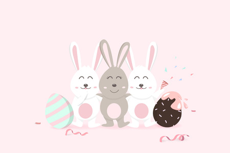Easter, happy greeting card holiday, confetti decoration celebrate party poster, adorable rabbit with egg fancy, cute bunny cartoon invitation vector illustration  イラスト・ベクター素材