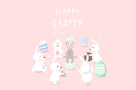 Easter, greeting card holiday, chocolate and cream decoration festival, baby rabbit resurrection, egg fancy, cute bunny cartoon invitation vector illustration Banque d'images - 124814124