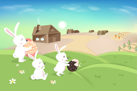 Happy Easter, holiday, cute white bunny playing on grass hill, egg hunt poster, agriculture landscape scene, rabbit kid cartoon fantasy story, vector background illustration  イラスト・ベクター素材