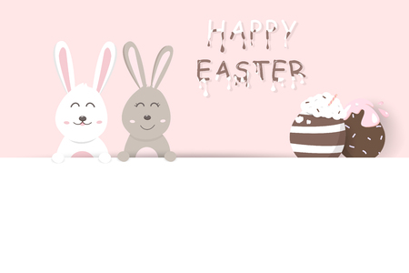 Easter, liquid sweet food text, pink pastel greeting card holiday, adorable rabbit with egg fancy, cute bunny cartoon invitation vector illustration
